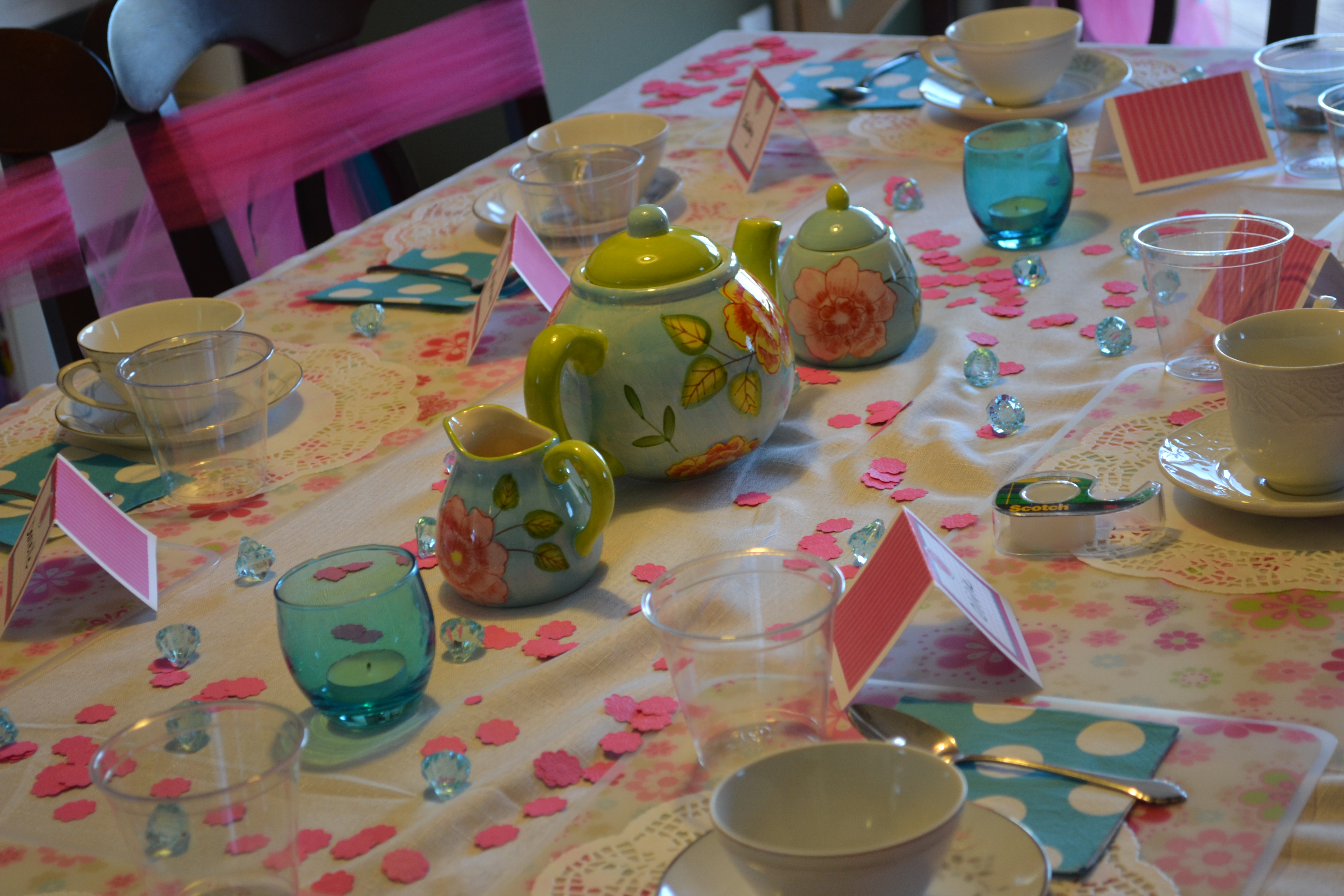 Dolly and me par tea workingmomsnetwork for Party table setting
