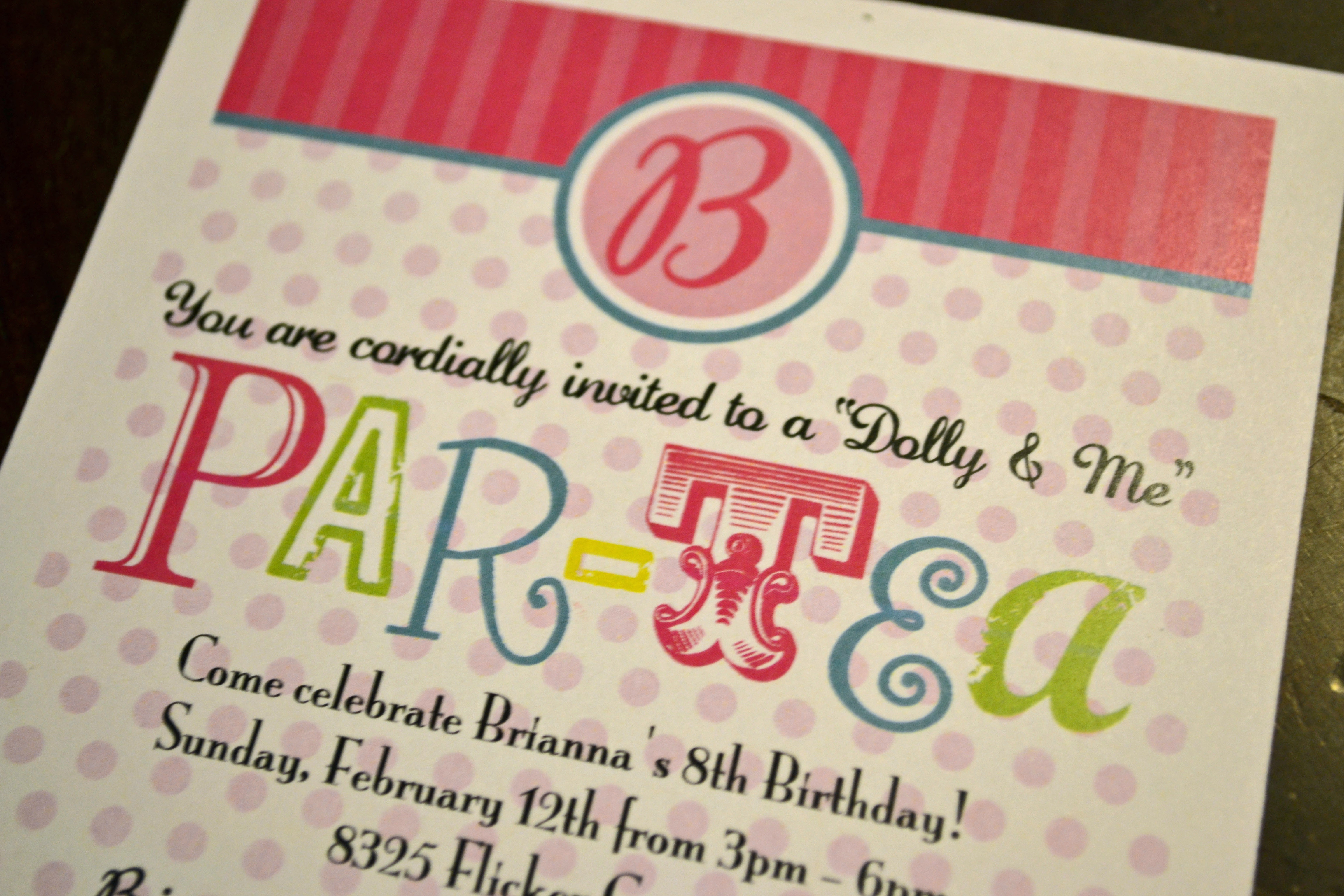 Dolly and Me ParTea – Doll Party Invitations